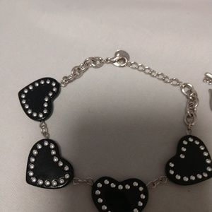 Other - Bracelet  black hearts with rhinstones